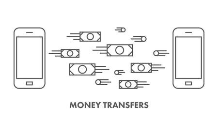 money transfer: Line icon money transfer.