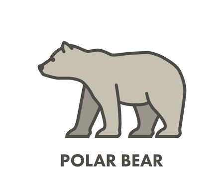 north pole sign: Painted outline figure of polar bear. Vector icon