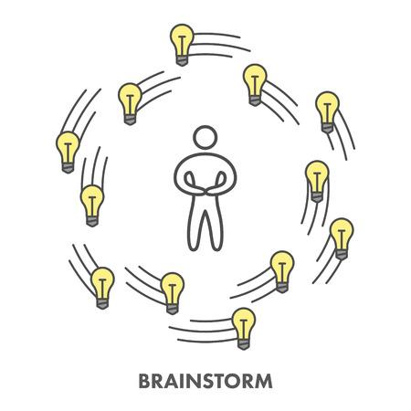 brainstorm: Line icon brainstorm.