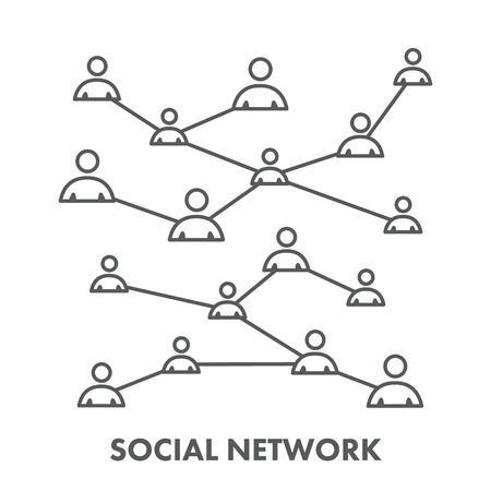social icon: Line icon social network. Vector symbol for web and site Illustration
