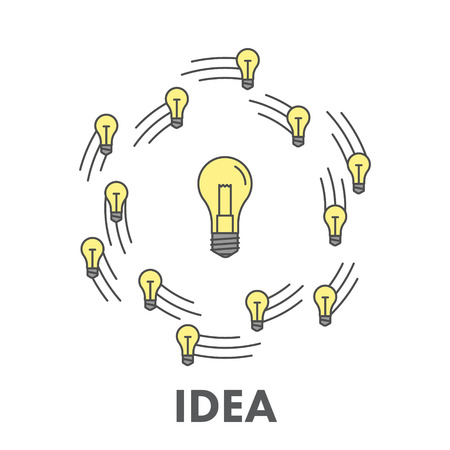 idea: Line icon business idea.  Illustration