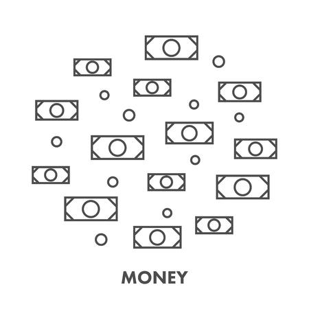 バンキング: Line icon money and banking.    イラスト・ベクター素材
