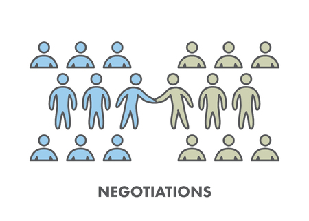 negociacion: Línea icono de negociación comercial.