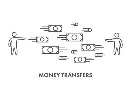 money transfer: Line icon money transfer.      Illustration