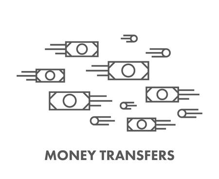 transfer: Line icon money transfer.   Illustration