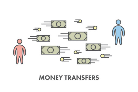 pay money: Line icon money transfer.  Illustration