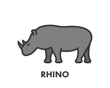 rhino vector: Painted line figure of rhino. Vector outline symbol for web and design Illustration
