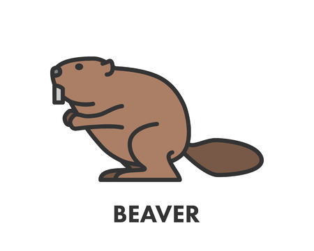 Painted line figure of beaver. Vector outline symbol for web and design