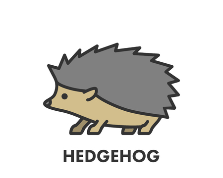 Painted line figure of hedgehog. Vector outline symbol for web and design Иллюстрация