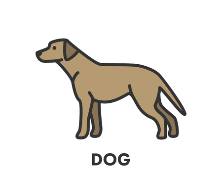 painted dog: Painted line figure of dog. Vector outline symbol for web and design
