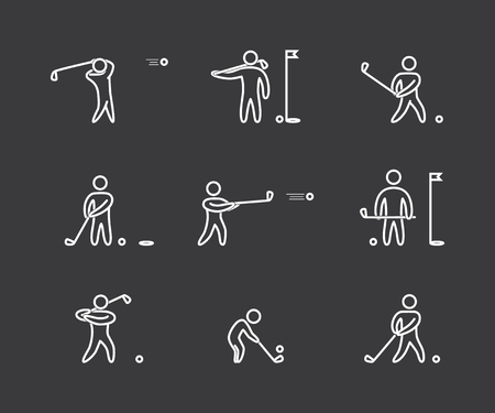 golfer swinging: Linear golf icons set. Linear figure golfer. Line art sport symbols