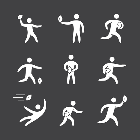 scrum: Silhouettes of figures american football player icons set. Rugby and american football vector symbols