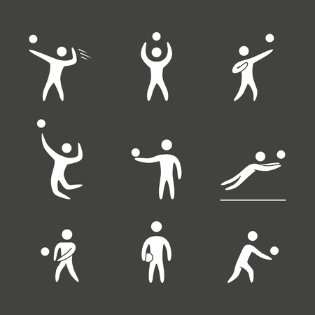 person silhouette: Silhouettes of figures volleyball players icons set. Volleyball vector symbols