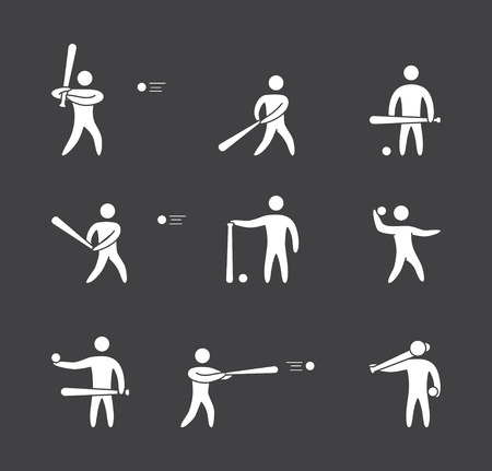 baseball catcher: Silhouettes of figures baseball player icons set. Baseball vector symbols