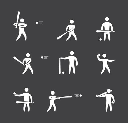 softball player: Silhouettes of figures baseball player icons set. Baseball vector symbols