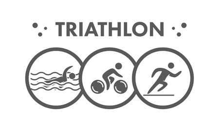 silueta ciclista: Icono de Triatlón. Natación, ciclismo, correr símbolos. Siluetas de las figuras triatleta. El deporte y la insignia del vector de etiquetas