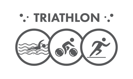 water sport: Triathlon   icon. Swimming, cycling, running symbols. Silhouettes of figures triathlete. Vector sport label and badge