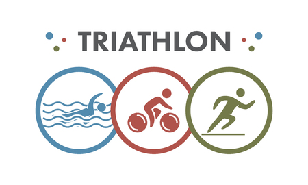 Triathlon   icon. Swimming, cycling, running symbols. Silhouettes of figures triathlete. Vector sport label and badge Imagens - 47293542