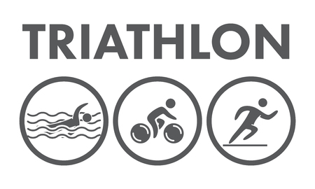 swimming race: Triathlon  icon. Swimming, cycling, running symbols. Silhouettes of figures triathlete. Vector sport label and badge Illustration