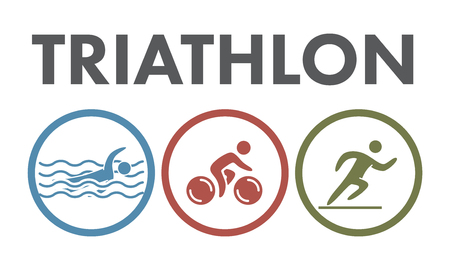 swimming race: Triathlon   icon. Swimming, cycling, running symbols. Silhouettes of figures triathlete. Vector sport label and badge