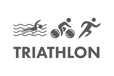 triathlete: Triathlon  icon. Swimming, cycling, running symbols. Silhouettes of figures triathlete. Vector sport label and badge Illustration