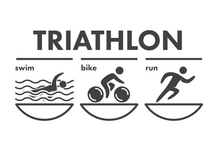cyclist silhouette: Triathlon   icon. Swimming, cycling, running symbols. Silhouettes of figures triathlete. Vector sport label and badge