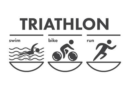 triathlon: Triathlon   icon. Swimming, cycling, running symbols. Silhouettes of figures triathlete. Vector sport label and badge