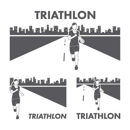 triathlon: Womens Triathlon icon. Silhouettes of figures triathlete. Vector sport label and badge Illustration