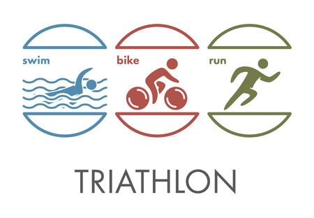Triathlon  icon. Swimming, cycling, running symbols. Silhouettes of figures triathlete. Vector sport label and badge Illustration