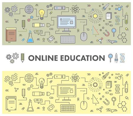 온라인 교육 및 전자 학습을위한 라인 디자인 개념 웹 배너입니다. 선형 벡터 설정 일러스트