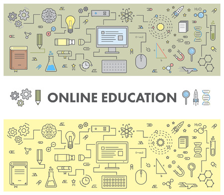 Line design concept web banner for online education and e-learning. Linear vector set Illustration