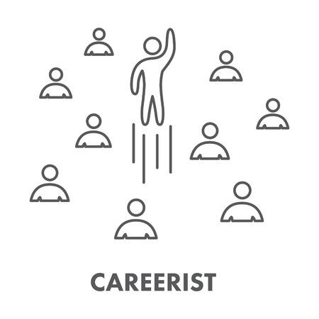 careerist: Line icon careerist. Vector symbol, logo and banner Illustration