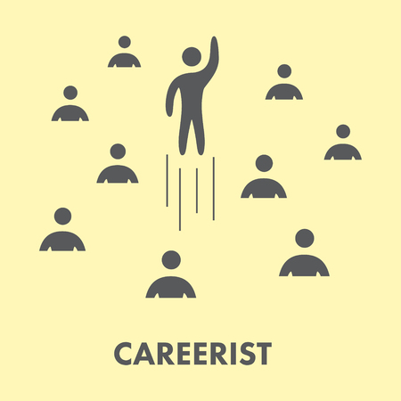 careerist: Careerist icon. Silhouette people. Vector symbol, logo and banner
