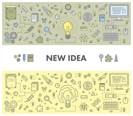 new idea: Line design concept web banner for new idea. Linear vector illustration