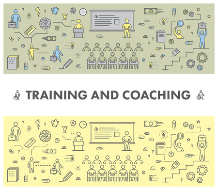 coaching: Line design concept web banner for training and coaching. Linear vector illustration
