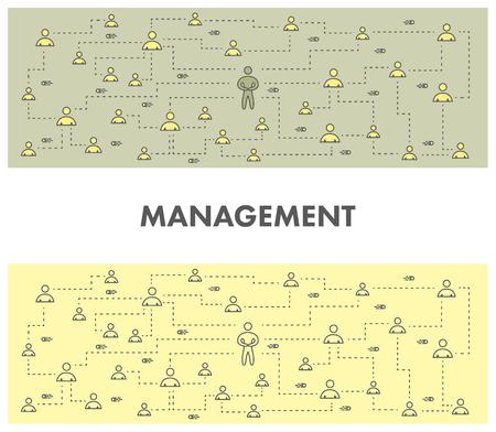 business service: Line design concept banner for management. Linear vector illustration
