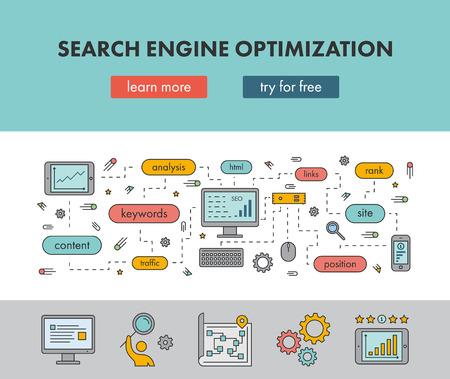 검색 엔진 최적화를위한 라인 디자인 개념 웹 배너입니다. 벡터 방문 페이지