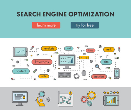 Line design concept web banner for Search Engine Optimization. Vector landing page Vectores