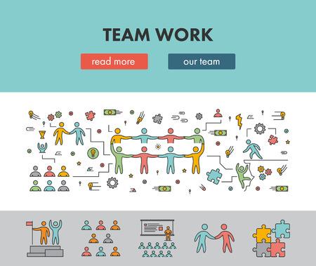 Line design concept web banner for team work. Vector landing page