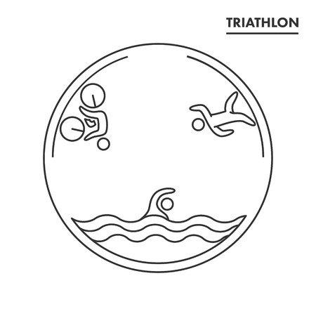 triathlete: Triathlon icon. Swimming, cycling, running symbols. Silhouettes of figures triathlete. Vector sport label and badge