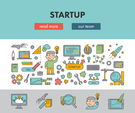 Line design concept horizontal banner for startup. Vector landing page