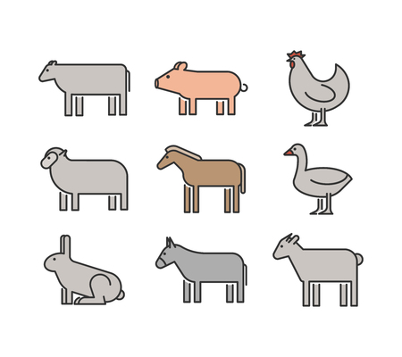 donkey: Outline figures of farm animals. Vector figures icon set. Vector cow, pig, chicken, horse, rabbit, goat, donkey, sheep and geese