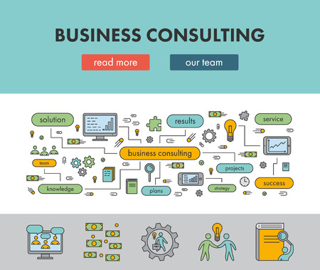 consulting: Line design concept banner for business consulting. Vector landing page