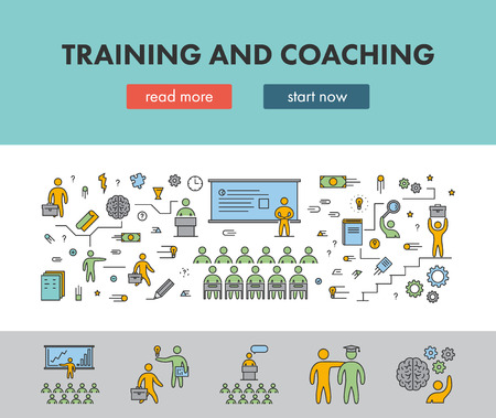service: Line design concept banner for training and coaching. Vector landing page Illustration