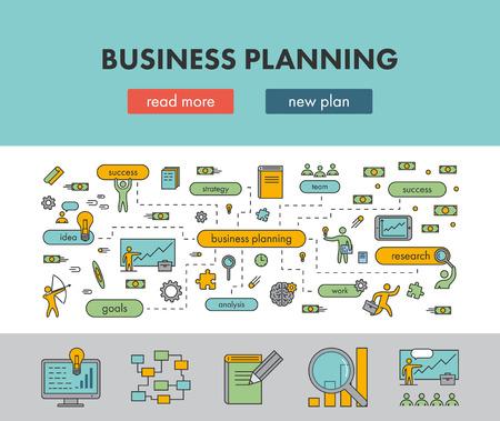 Line design concept banner for business planning. Vector landing page