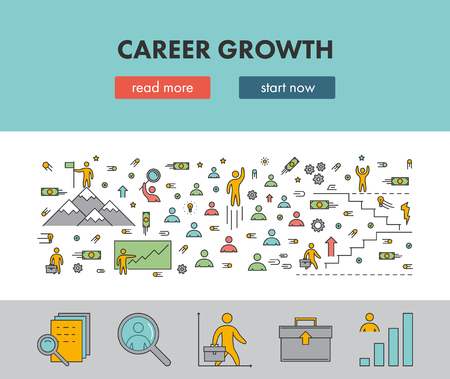 people development: Line design concept web banner for career growth. Vector landing page