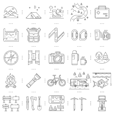 Line icons set of camping, hiking and tourism. Vector linear symbol