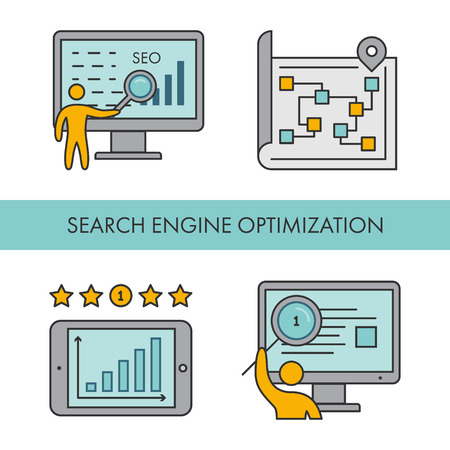 Line icons for Search Engine Optimization. Vector linear set for web