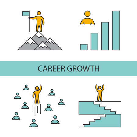 Line icons for career growth. Vector linear set for web Illustration