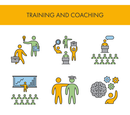 Line icons for training and coaching. Vector linear set for web